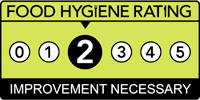 Food hygiene rating is '2': Improvement necessary