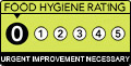 Food hygiene rating is '0': Urgent improvement necessary